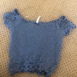 McCaulou's Department Store Tops - blue ruffle off the shoulder shirt